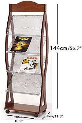 Librería Madera estante de libro Magazine Rack nórdica de la propaganda soporte de exhibición del entramado del piso del álbum moderna minimalista Estantería creativo Periódico rack Creativo Estanterí: Amazon.es: Hogar