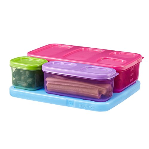 (Rubbermaid LunchBlox Kids Lunch Box Container Set, Flat, Assorted Colors 1866736)