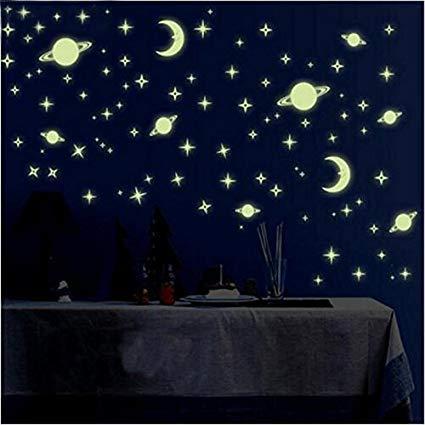 Satya Vipal Galaxy of Stars Radium Glow in The Dark Kids Room Wall Stickers (Pack of 4 Sheets)