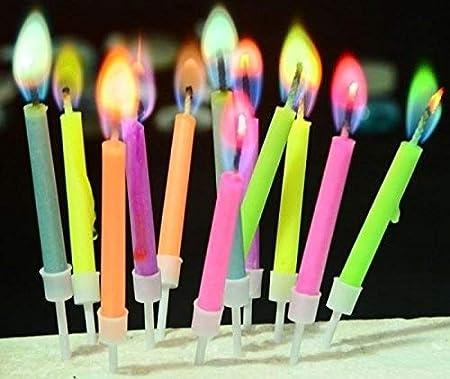 12 Neon Colour Flame Candles Birthday Xmas Wedding Party Cake Holders Magic Angel Novelty Celebration Decoration