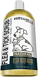 Paws & Pals Flea and Tick Shampoo-Conditioner Scrub for Dogs & Cats - Moisurizes, Deodorizes, Detangles Fur Coat (Flea & Tick), 20 FL oz