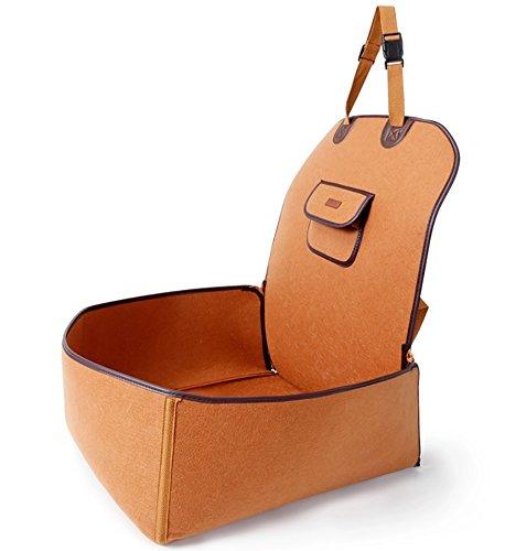 TapTap Hunde Autositz für Kleine und mittlere Hunde, Hundesitz Auto aus natürlichem Filz für Beifahrerseite oder Rücksitz mit Sitzanker (45 * 45 * 60CM)