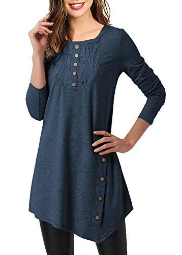 Mystry Zone Women's Shirts and Blouse Lace Buttons Neck Solid Color Tunics Blouse Navyblue Large by Mystry Zone (Image #1)