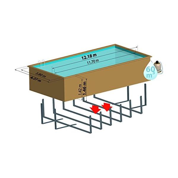 Gre 788033 Piscina con bordi Piscina rettangolare Blu, Marrone piscina fuori terra 3 spesavip