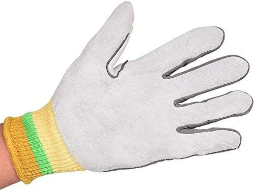 労働保護作業用手袋 労働保険手袋耐摩耗性抗機械切断抗ピアス手袋、1ペア (Color : Yellow, Size : L)