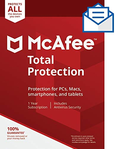 McAfee Total Protection, Unlimited Devices, Antivirus Software, Identity Security, 1 Year Subscription-[Key card]- 2020 Ready