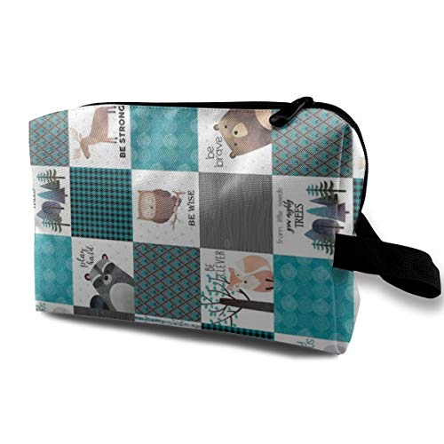 Funny 3D Printing women cosmetic bag Woodland Critters Patchwork Quilt ROTATED Makeup Bags 4.9 x 6.3 x 10 inch