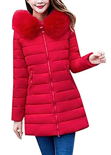 Femme Parka Longue Oversize Chaud Hiver Manteau avec Capuchon Fourrure Elgante Spcial Style Loisir Long Manches paissir Chemine Stepp Coat Manteau Outdoor Rouge