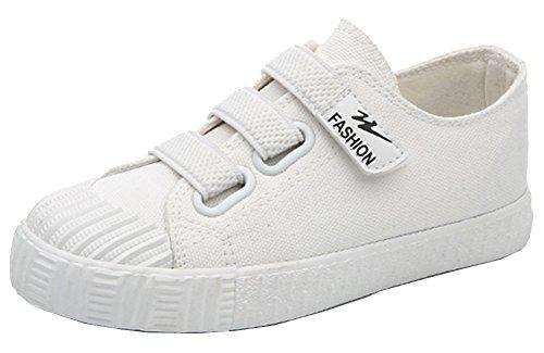 VECJUNIA Mädchen Jungen Atmungsaktiv Doppelte Linie Elastische Haken und Loop Kinderschuhe Outdoor Sneakers Weiß