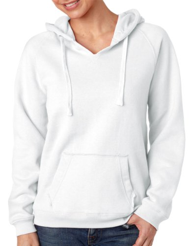 J. America womens Sydney Brushed V-Neck Hood(JA8836)-WHITE-M