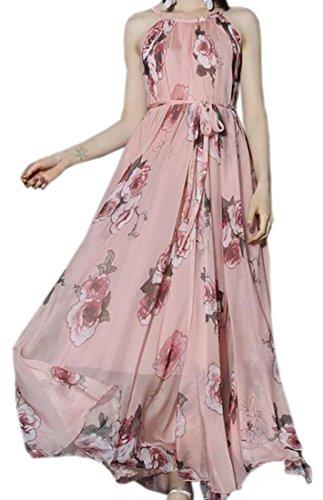 Rosa Senza Maxi Vestito Epoca Floreale Delle Halter Domple Donne La Maniche Sera Moda 5wxqOz
