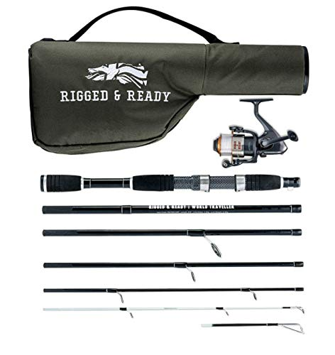 Rigged & Ready World Traveller, Travel Rod Combination. 6 Piece, 205cm, 6.7ft, high Performance, Powerful, Nano Carbon Rod with Unbreakable tip, Travelling Fishing Rod, 5 Bearing Reel and - Rod Travel Trout