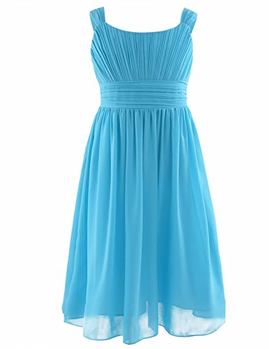 YiZYiF Kids Big Girl Sleeveless Pleated Chiffon Flower Wedding Bridesmaid Formal Party Dress Sky Blue 8 ()