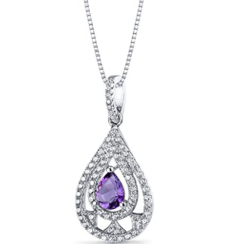Amethyst Chandelier Pendant Necklace Sterling Silver 0.5 Carats