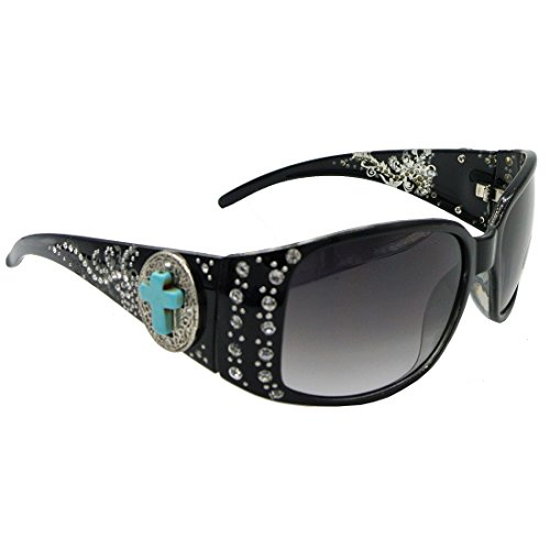 Western Sunglasses with Turquoise Cross Concho and Bling Rhinestone Accents (Black, Black (Western Glass)
