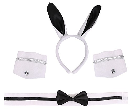 Costumes Playboy (Costume Accessories -Playboy Bunny Ears, Bow Tie,Cuff Bands)
