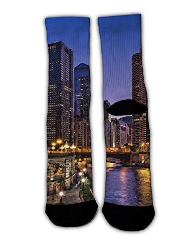 (YEAHSPACE Fun Men Women Dress Socks USA Chicago Skyline Night View Novelty Colorful Patterned Funny Crew Socks, Christmas Stockings Socks Winter Warm Holiday Slippers)