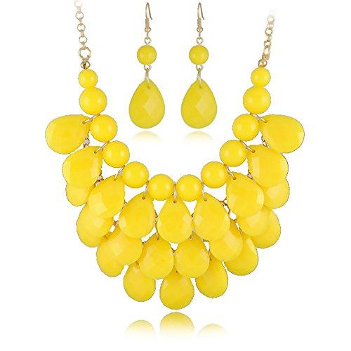 [Easykan Women's Alloy Chain Acrylic Chunky Statement Bib Necklace Earrings Set(yellow) 18