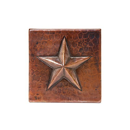 Premier Copper Products T4DBS_PKG4 4-Inch by 4-Inch Hammered Copper Star Tile - Quantity 4, Oil Rubbed Bronze by Premier Copper Products