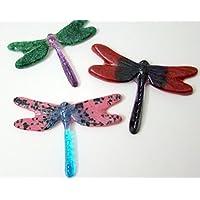 Set of 3 Glass Dragonflies Flower Pot Art