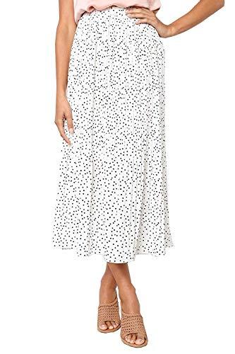 (Women's Polka Dot Midi Pleated Length Skirts with Pockets Elastic Waist (White, Large))