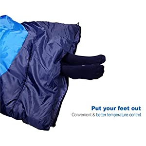 """Outdoorsman Lab Camping Accessories – 85"""" x 29.5"""" Soft Sleeping Bag with Compression Sack - Kids Men Women 3-4 Season Ultralight Compact Packable Bags (Sky Blue)"""