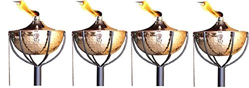 Legends Maui Tiki Style Torches with Poles, Set-of-4, Genuine Copper!(Hammered Copper)