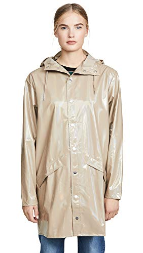 RAINS Women's Long Jacket, Holographic Beige, Tan, Metallic, M/L