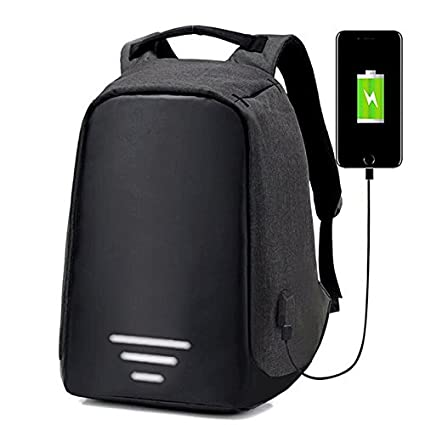 e906618459 University Trendz Polyester 30 L Anti Theft Water Resistant Black Laptop  Backpack with USB Charging port  Amazon.in  Bags
