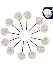 JAOMON Polijstballen, 20 stuks, wollen polijstschijven met handgreep, wol, metalen stang 4,5 mm, polijstbal, katoenfluweel, polijstwiel voor het fijn polijsten van sieraden, horloges en wielen