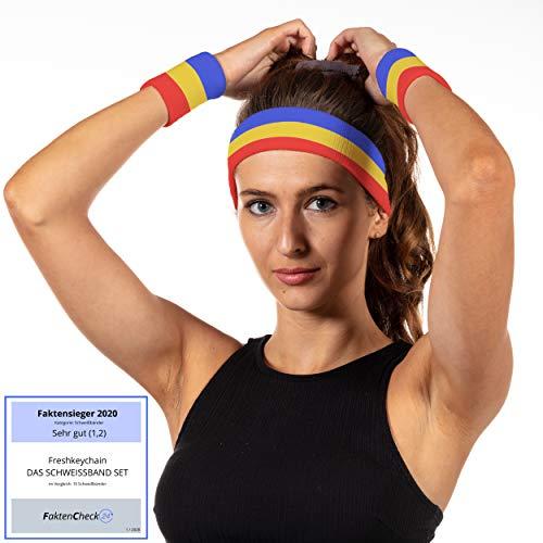 Freshkeychain Premium Schweißband Set - 3er Schweissband Set mit absorbierendem Stirnband und 2 Handgelenk Schweißbänder - buntes Sportstirnband