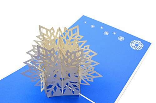 PopLife Winter Snowflake 3D Pop Up Greeting Card - Tree Trimmers, Crafters, Scrapbookers - Folds Flat for Mailing - Holiday Party, White Elephant, Christmas Office Gift