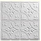 Genesis Designer Antique PVC Ceiling Tile, Waterproof & Washable, 2'L X 2'W, White