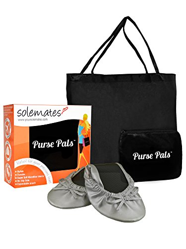 Solemates Purse Pal Foldable Bowed Ballet Flats w/Expandable Tote Bag for Carrying Heels (Small (5-6.5), Silver)