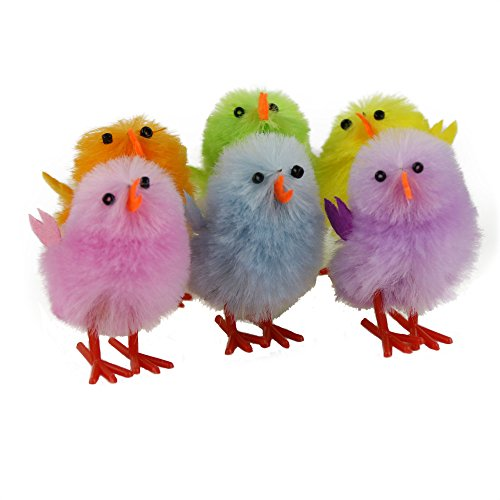 Wewill Adorable Mini Vibrant Colors Easter Chicks - Box of 6