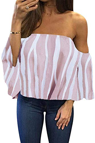 - BLUETIME Women Plus Size Off Shoulder Tops Boho Bell Sleeve Casual Summer Sexy Chiffon Blouses T Shirts (XL, Floral2)
