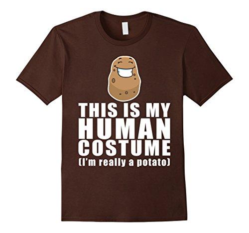 Mens This Is My Human Costume I'm Really A Potato T-Shirt Medium Brown