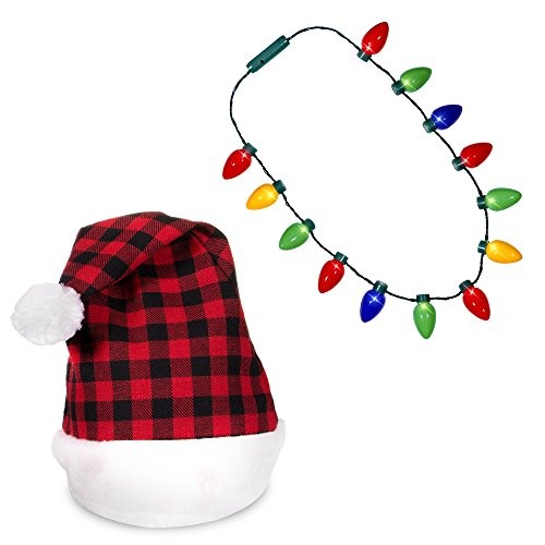 (Plaid Santa Hat + LED Christmas Bulb Necklace Kit for Ugly Sweater Xmas Holiday Party)