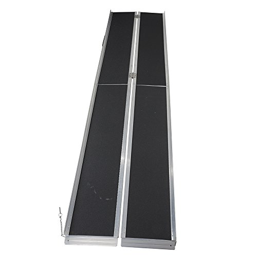 Portable Suitcase Wheelchair Ramp (10' ft Multifold Wheelchair Threshold Ramp Portable Suitcase Scooter Mobility Ramp Aluminum 120