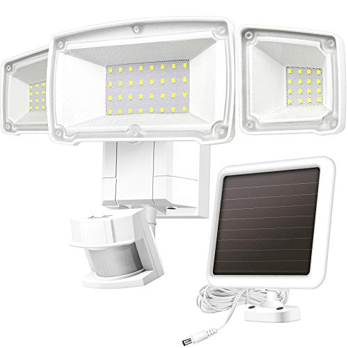 Solar Lights Outdoor, AmeriTop Super Bright LED Solar Motion Sensor Lights with Wide Angle Illumination; 1500LM 5000K, 3 Adjustable Heads, IP65 Waterproof Outdoor Security Lighting (White)