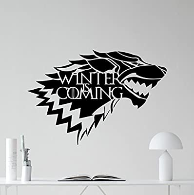House Of Stark Logo Wall Decal Winter Is Coming Wolf Logo Game Of Thrones Vinyl Sticker Fantasy Movie Wall Art Design Housewares Kids Room Bedroom Decor Removable Wall Mural 27zzz