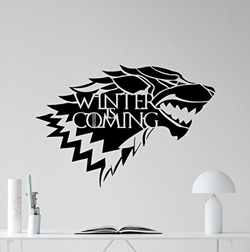 Casa De Stark Logo Muro de vinilo Winter Is Coming Wolf logo Game Of Thrones vinilo Fantasía Película Wall Art diseño...