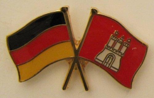 Hamburg / Deutschland Freundschafts Pin Anstecker Flagge Fahne Nationalflagge Doppelpin Flaggenpin Badge Button Flaggen Clip Anstecknadel