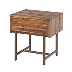 Bedroom Tov Furniture Bushwick Collection Acacia Wood, One Drawer Nightstand farmhouse nightstands