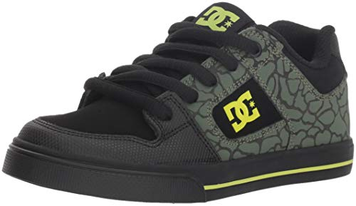 DC Boys' Pure SE Skate Shoe Black/Soft Lime, 12 M US Little Kid ()