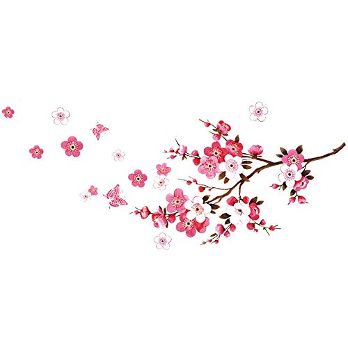 (ANBER New Butterfly Cherry Blossom Flower Tree Branch Wall Decals Decor Kids Baby Stickers)