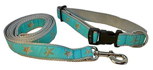 Preston Aqua Starfish Dog Collar and Leash Set – Natural Colored Starfish on Light Blue Green Ribbon with Silver Gray…