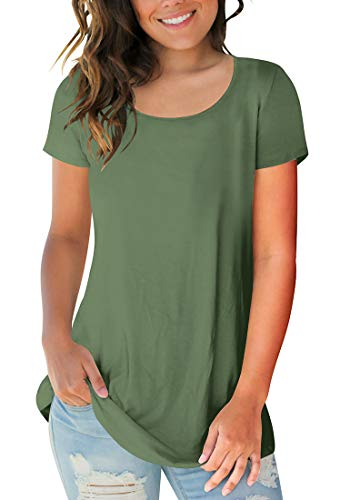- Sousuoty Women's Cotton Soft Short Sleeve Crew Neck T Shirt Slim Fit Tops Army Green M