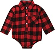 Baby Girls Boys You are so Deerly Loved Letters Print Long Sleeve Button Down Plaid Christmas Shirt