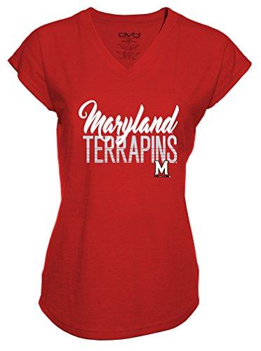 Ncaa Maryland Terrapins Ladies Tri Blend V Neck T Shirt  Medium  Red